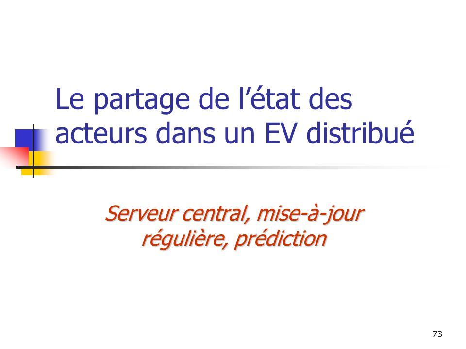 73 Le partage de l'état des acteurs dans un EV distribué Serveur central, mise-à-jour régulière, prédiction