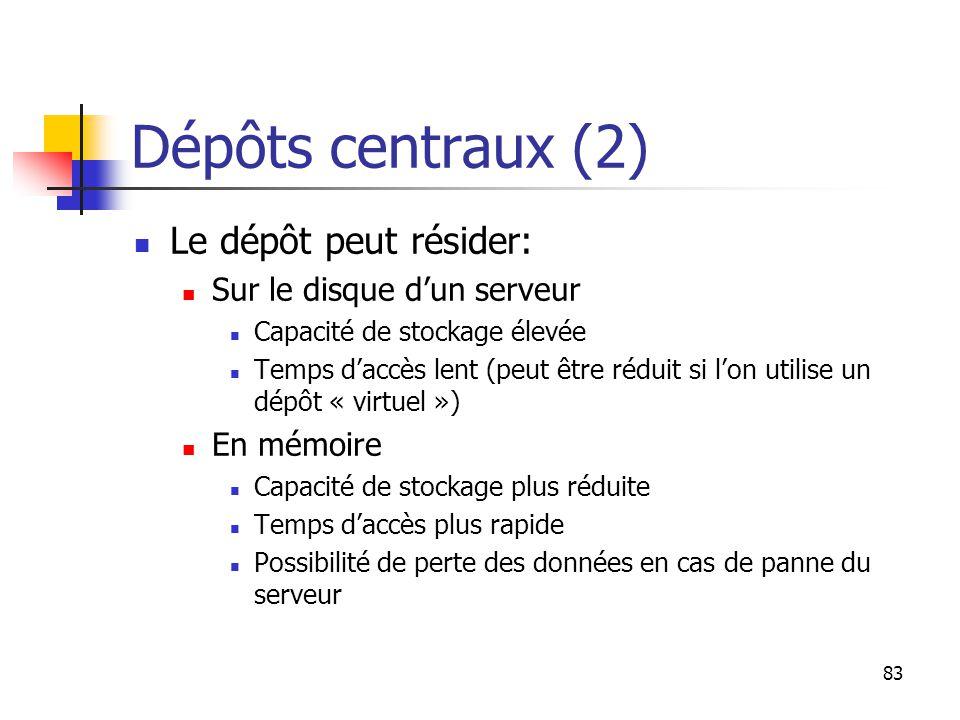 83 Dépôts centraux (2) Le dépôt peut résider: Sur le disque d'un serveur Capacité de stockage élevée Temps d'accès lent (peut être réduit si l'on utilise un dépôt « virtuel ») En mémoire Capacité de stockage plus réduite Temps d'accès plus rapide Possibilité de perte des données en cas de panne du serveur
