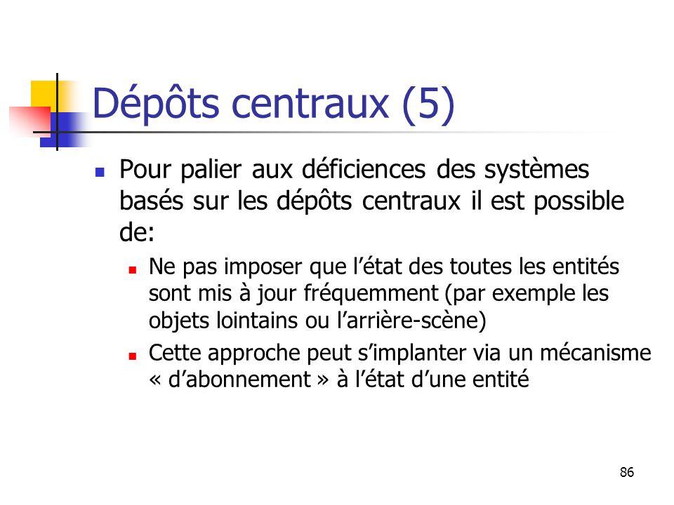86 Dépôts centraux (5) Pour palier aux déficiences des systèmes basés sur les dépôts centraux il est possible de: Ne pas imposer que l'état des toutes les entités sont mis à jour fréquemment (par exemple les objets lointains ou l'arrière-scène) Cette approche peut s'implanter via un mécanisme « d'abonnement » à l'état d'une entité