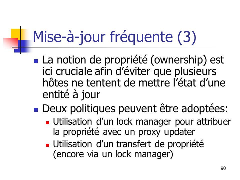 90 Mise-à-jour fréquente (3) La notion de propriété (ownership) est ici cruciale afin d'éviter que plusieurs hôtes ne tentent de mettre l'état d'une entité à jour Deux politiques peuvent être adoptées: Utilisation d'un lock manager pour attribuer la propriété avec un proxy updater Utilisation d'un transfert de propriété (encore via un lock manager)