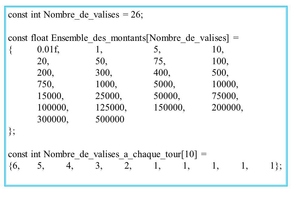 28 const int Nombre_de_valises = 26; const float Ensemble_des_montants[Nombre_de_valises] = {0.01f,1,5,10, 20,50,75,100, 200,300,400,500, 750,1000,5000,10000, 15000,25000,50000,75000, 100000,125000,150000,200000, 300000,500000 }; const int Nombre_de_valises_a_chaque_tour[10] = {6,5,4,3,2,1,1,1,1,1};