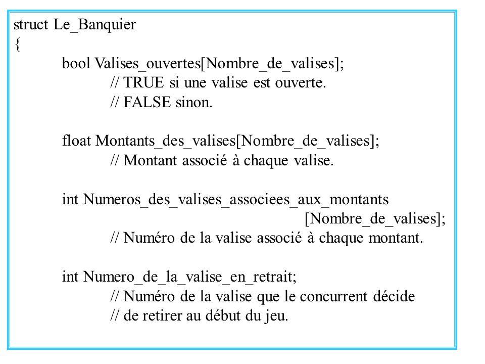 29 struct Le_Banquier { bool Valises_ouvertes[Nombre_de_valises]; // TRUE si une valise est ouverte. // FALSE sinon. float Montants_des_valises[Nombre