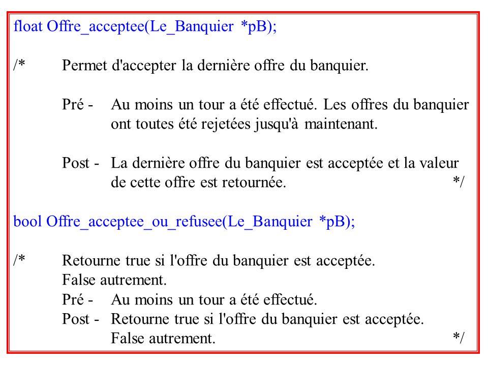 33 float Offre_acceptee(Le_Banquier *pB); /*Permet d'accepter la dernière offre du banquier. Pré -Au moins un tour a été effectué. Les offres du banqu