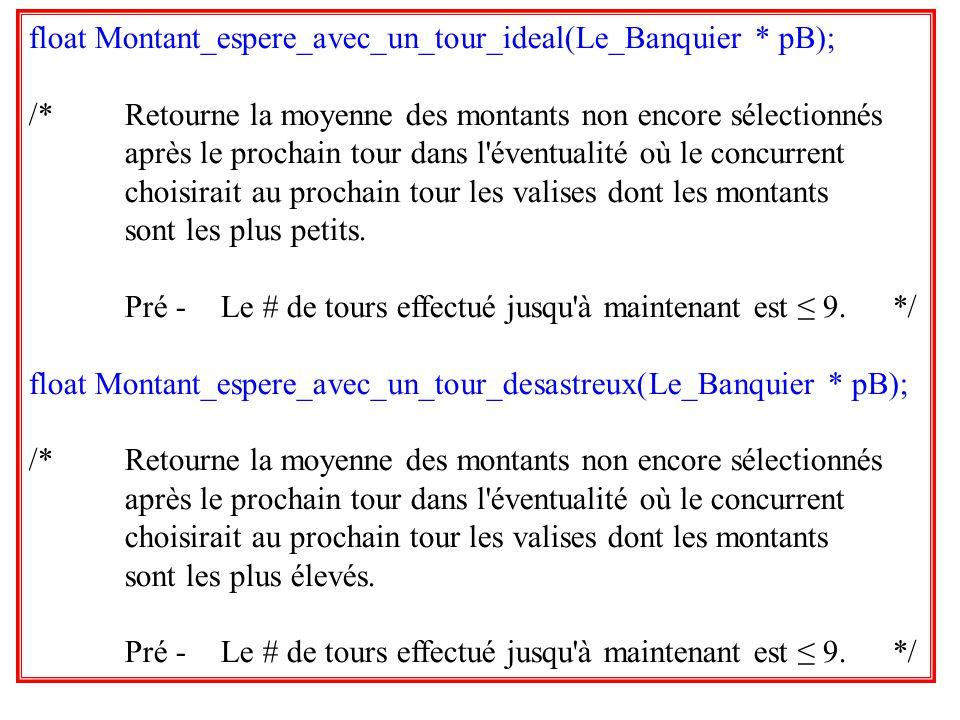 35 float Montant_espere_avec_un_tour_ideal(Le_Banquier * pB); /*Retourne la moyenne des montants non encore sélectionnés après le prochain tour dans l