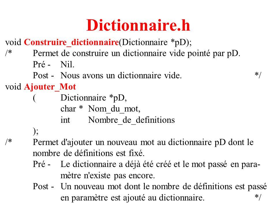 5 Dictionnaire.h void Inserer_Definition_Mot (Dictionnaire *pD, char *Nom_du_mot, inti, char *Definition ); /*Permet d insérer la i ième définition du mot passé en paramètre.