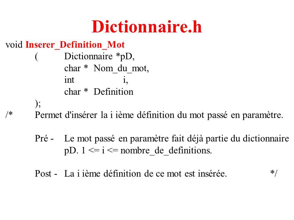 5 Dictionnaire.h void Inserer_Definition_Mot (Dictionnaire *pD, char *Nom_du_mot, inti, char *Definition ); /*Permet d'insérer la i ième définition du