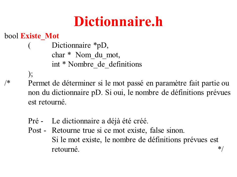 6 Dictionnaire.h bool Existe_Mot (Dictionnaire *pD, char *Nom_du_mot, int * Nombre_de_definitions ); /*Permet de déterminer si le mot passé en paramètre fait partie ou non du dictionnaire pD.
