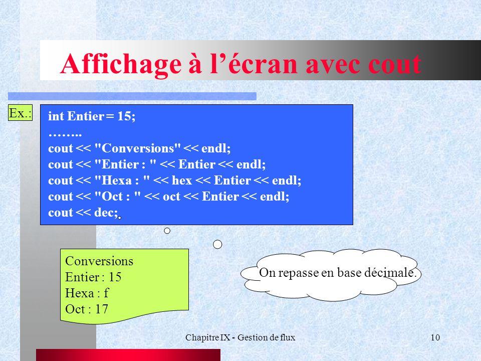 Chapitre IX - Gestion de flux10 Affichage à l'écran avec cout Ex.: int Entier = 15; ……..