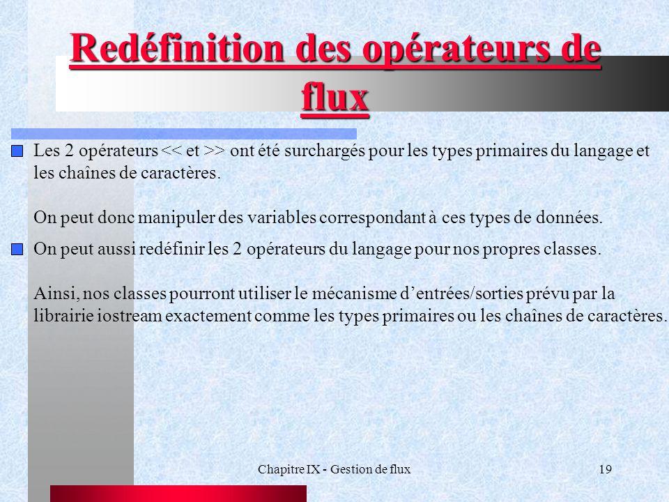 Chapitre IX - Gestion de flux19 Redéfinition des opérateurs de flux Les 2 opérateurs > ont été surchargés pour les types primaires du langage et les chaînes de caractères.