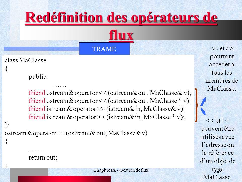 Chapitre IX - Gestion de flux20 Redéfinition des opérateurs de flux TRAME class MaClasse { public: …… friend ostream& operator << (ostream& out, MaClasse& v); friend ostream& operator << (ostream& out, MaClasse * v); friend istream& operator >> (istream& in, MaClasse& v); friend istream& operator >> (istream& in, MaClasse * v); }; ostream& operator << (ostream& out, MaClasse& v) { …….