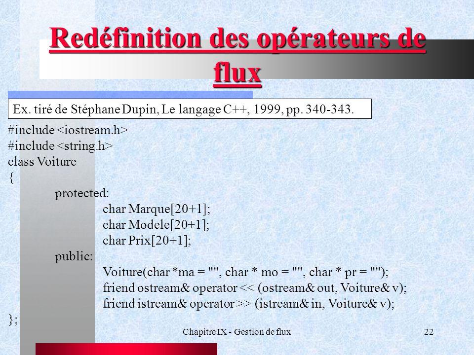 Chapitre IX - Gestion de flux22 Redéfinition des opérateurs de flux Ex.
