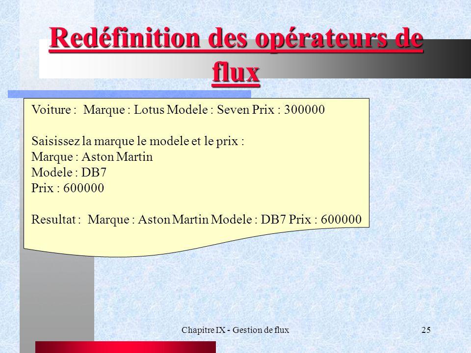 Chapitre IX - Gestion de flux25 Redéfinition des opérateurs de flux Voiture : Marque : Lotus Modele : Seven Prix : 300000 Saisissez la marque le modele et le prix : Marque : Aston Martin Modele : DB7 Prix : 600000 Resultat : Marque : Aston Martin Modele : DB7 Prix : 600000