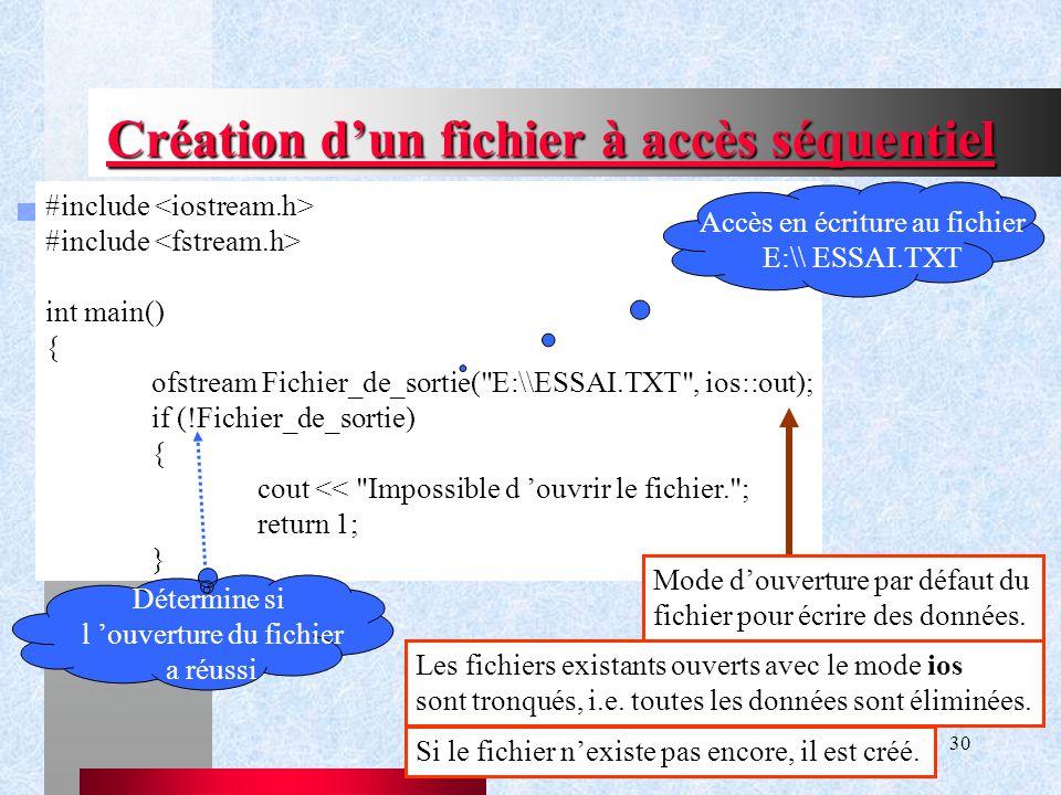 Chapitre IX - Gestion de flux30 Création d'un fichier à accès séquentiel #include int main() { ofstream Fichier_de_sortie( E:\\ESSAI.TXT , ios::out); if (!Fichier_de_sortie) { cout << Impossible d 'ouvrir le fichier. ; return 1; } Accès en écriture au fichier E:\\ ESSAI.TXT Détermine si l 'ouverture du fichier a réussi Mode d'ouverture par défaut du fichier pour écrire des données.