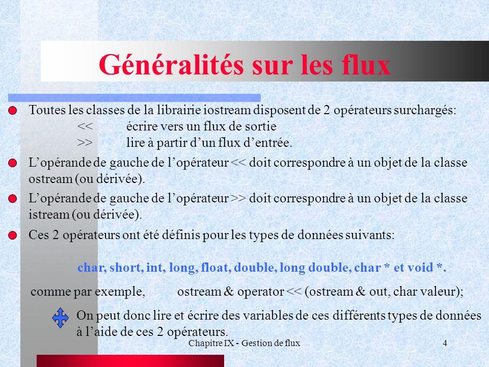 Chapitre IX - Gestion de flux4 Généralités sur les flux Toutes les classes de la librairie iostream disposent de 2 opérateurs surchargés: <<écrire vers un flux de sortie >>lire à partir d'un flux d'entrée.