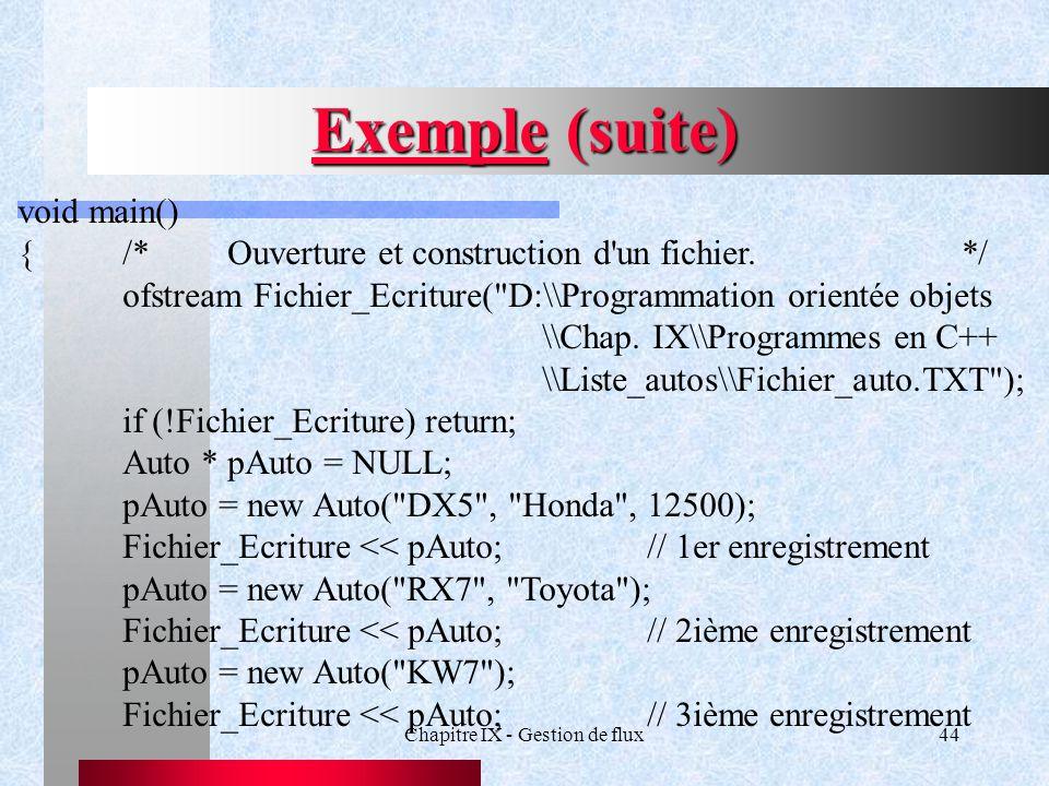 Chapitre IX - Gestion de flux44 Exemple (suite) void main() {/*Ouverture et construction d un fichier.*/ ofstream Fichier_Ecriture( D:\\Programmation orientée objets \\Chap.