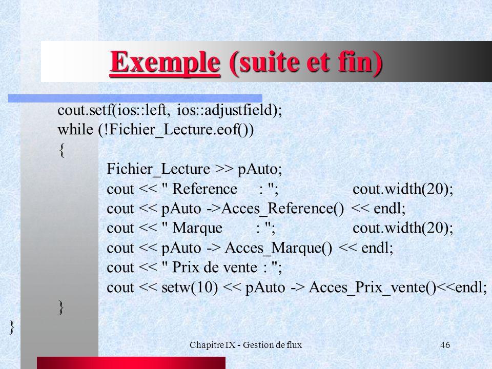 Chapitre IX - Gestion de flux46 Exemple (suite et fin) cout.setf(ios::left, ios::adjustfield); while (!Fichier_Lecture.eof()) { Fichier_Lecture >> pAuto; cout << Reference : ;cout.width(20); cout Acces_Reference() << endl; cout << Marque : ;cout.width(20); cout Acces_Marque() << endl; cout << Prix de vente : ; cout Acces_Prix_vente()<<endl; }