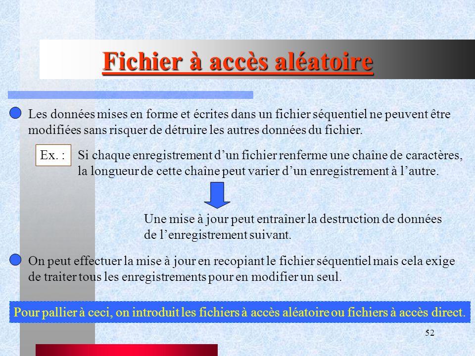 52 Fichier à accès aléatoire Les données mises en forme et écrites dans un fichier séquentiel ne peuvent être modifiées sans risquer de détruire les autres données du fichier.