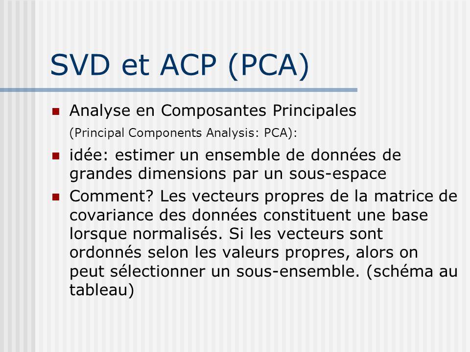 SVD et ACP (PCA) Analyse en Composantes Principales (Principal Components Analysis: PCA): idée: estimer un ensemble de données de grandes dimensions par un sous-espace Comment.