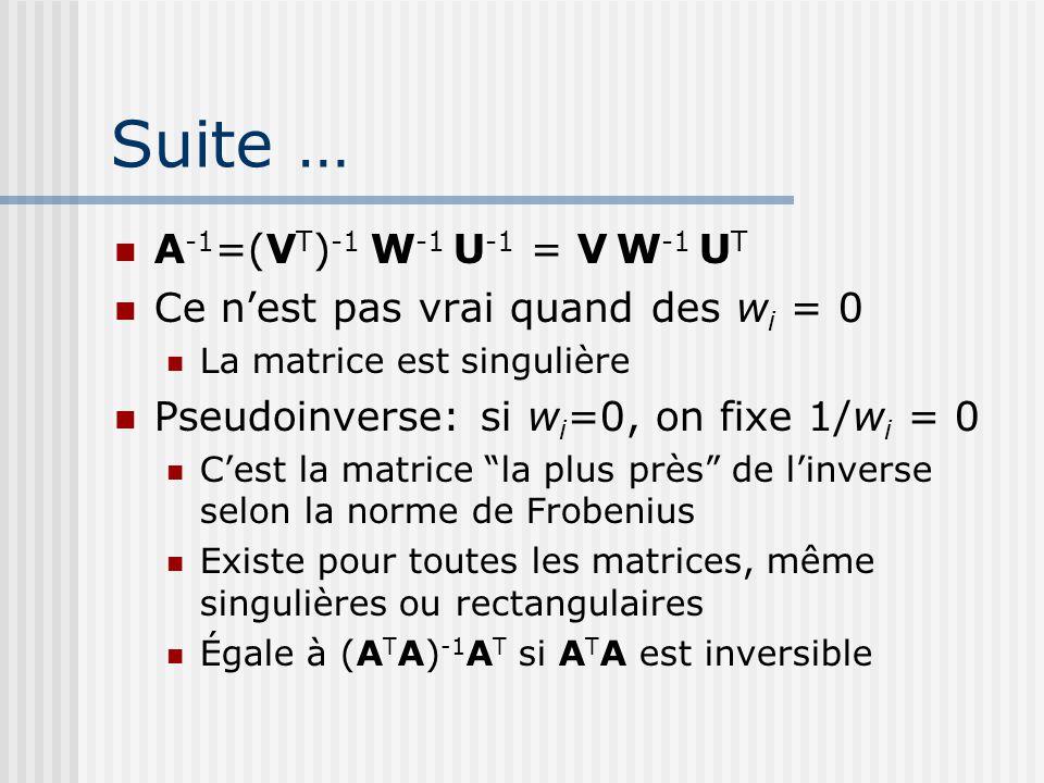 Suite … A -1 =(V T ) -1 W -1 U -1 = V W -1 U T Ce n'est pas vrai quand des w i = 0 La matrice est singulière Pseudoinverse: si w i =0, on fixe 1/w i = 0 C'est la matrice la plus près de l'inverse selon la norme de Frobenius Existe pour toutes les matrices, même singulières ou rectangulaires Égale à (A T A) -1 A T si A T A est inversible