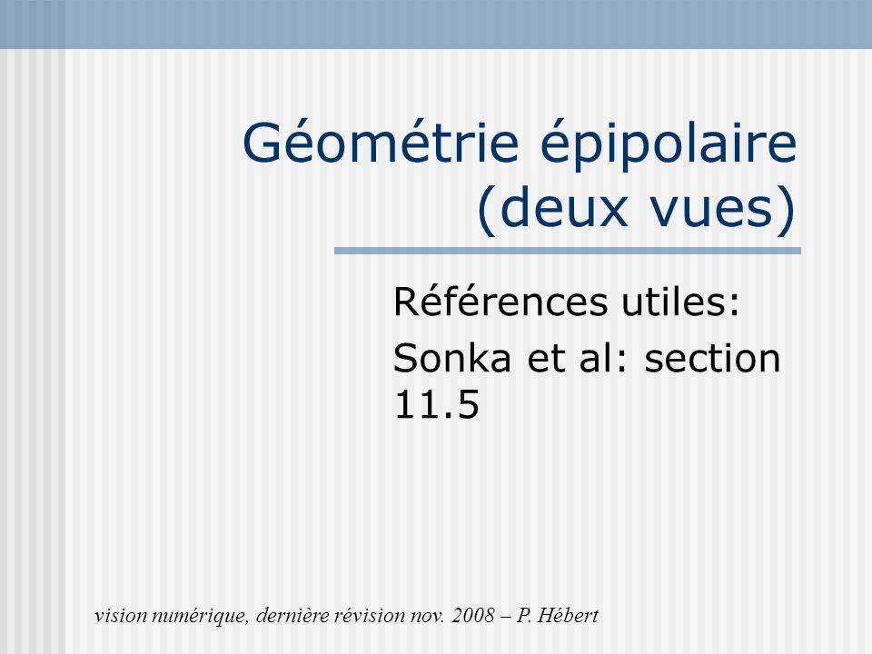 Géométrie épipolaire (deux vues) Références utiles: Sonka et al: section 11.5 vision numérique, dernière révision nov. 2008 – P. Hébert