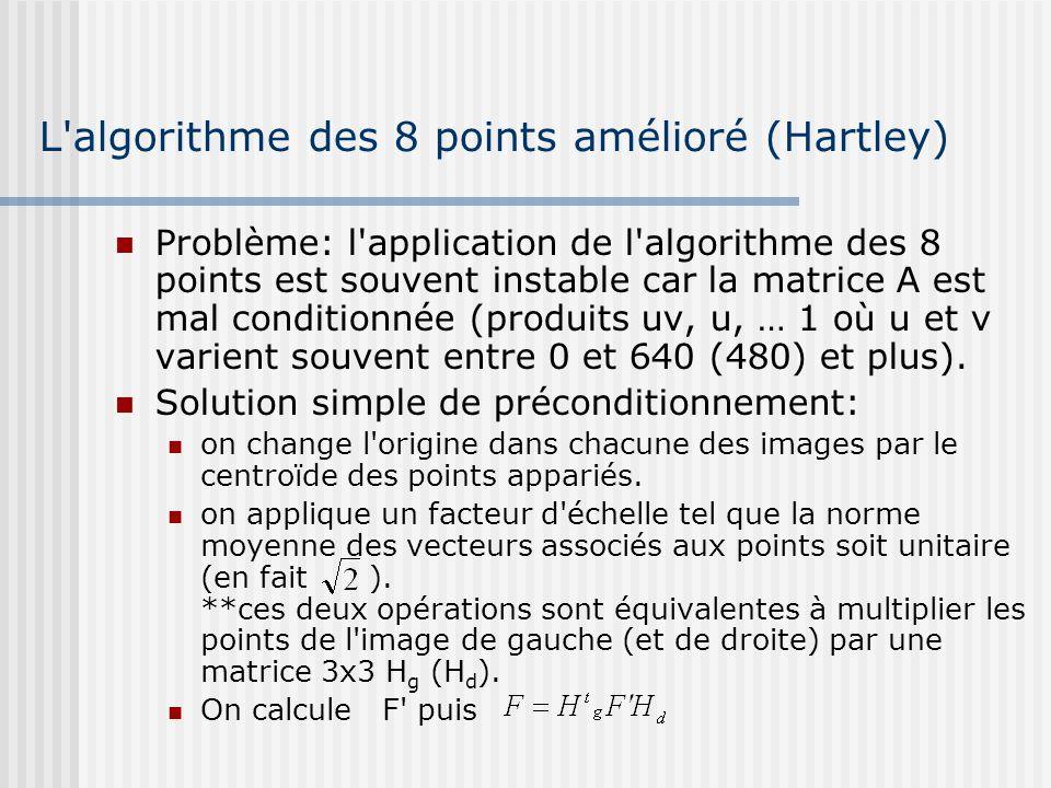 L'algorithme des 8 points amélioré (Hartley) Problème: l'application de l'algorithme des 8 points est souvent instable car la matrice A est mal condit