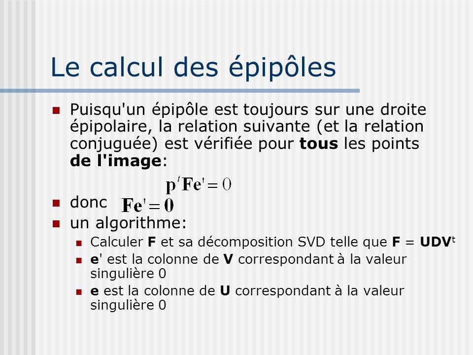 Le calcul des épipôles Puisqu'un épipôle est toujours sur une droite épipolaire, la relation suivante (et la relation conjuguée) est vérifiée pour tou