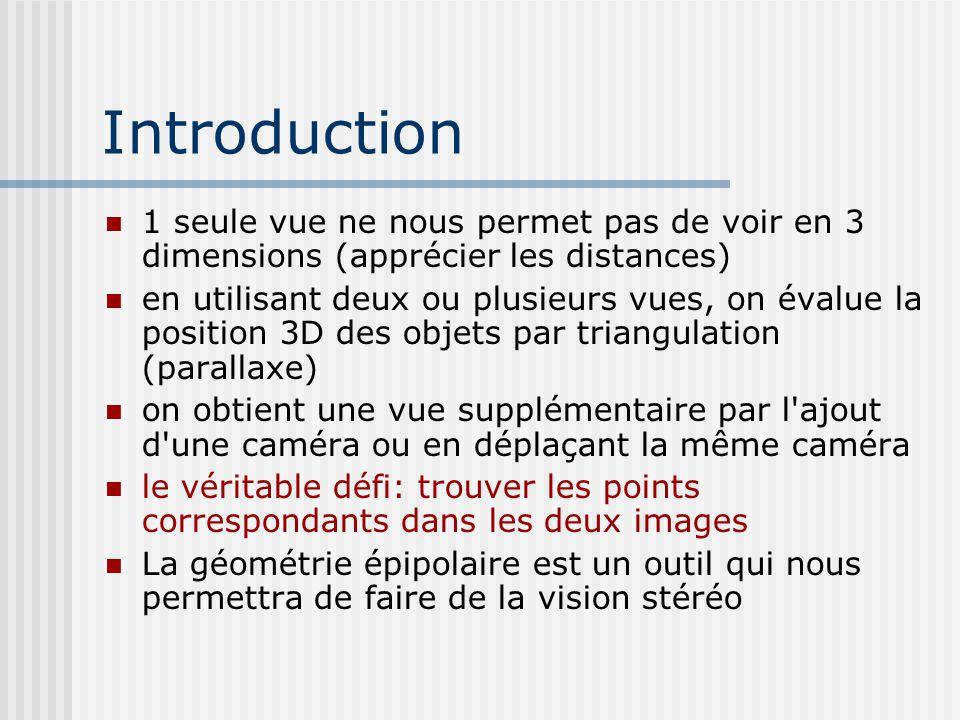 Introduction 1 seule vue ne nous permet pas de voir en 3 dimensions (apprécier les distances) en utilisant deux ou plusieurs vues, on évalue la positi