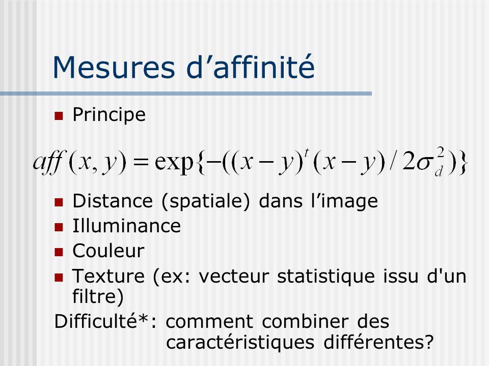 Mesures d'affinité Principe Distance (spatiale) dans l'image Illuminance Couleur Texture (ex: vecteur statistique issu d un filtre) Difficulté*: comment combiner des caractéristiques différentes?