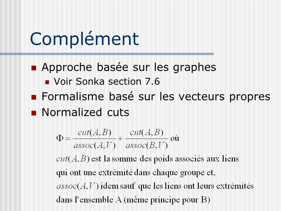 Complément Approche basée sur les graphes Voir Sonka section 7.6 Formalisme basé sur les vecteurs propres Normalized cuts