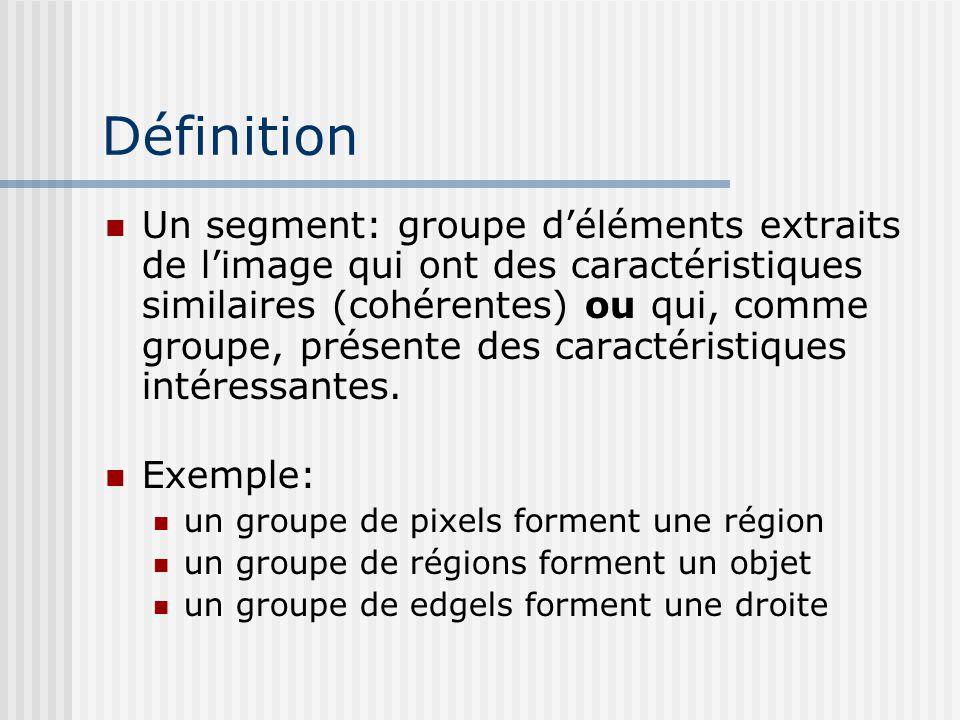 Définition Un segment: groupe d'éléments extraits de l'image qui ont des caractéristiques similaires (cohérentes) ou qui, comme groupe, présente des caractéristiques intéressantes.