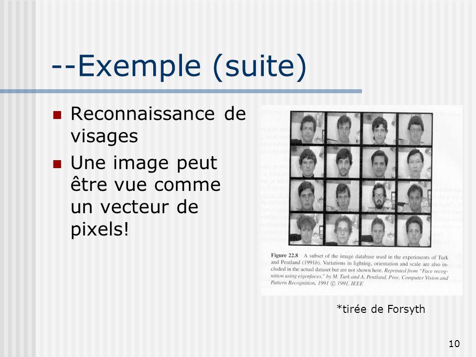 10 --Exemple (suite) Reconnaissance de visages Une image peut être vue comme un vecteur de pixels! *tirée de Forsyth