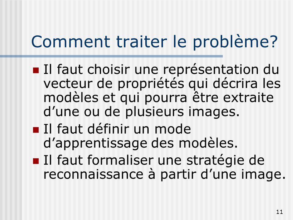 11 Comment traiter le problème? Il faut choisir une représentation du vecteur de propriétés qui décrira les modèles et qui pourra être extraite d'une
