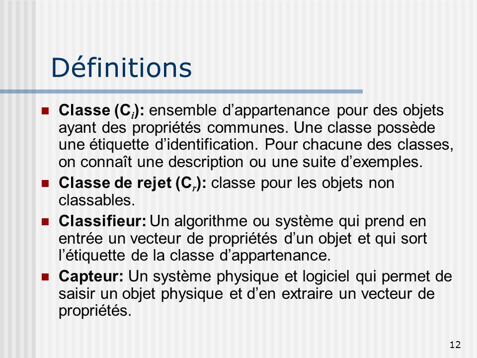 12 Définitions Classe (C i ): ensemble d'appartenance pour des objets ayant des propriétés communes. Une classe possède une étiquette d'identification