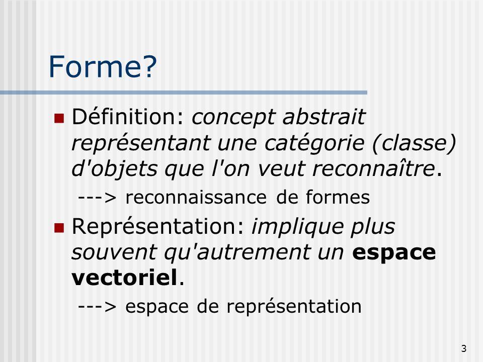 3 Forme? Définition: concept abstrait représentant une catégorie (classe) d'objets que l'on veut reconnaître. ---> reconnaissance de formes Représenta