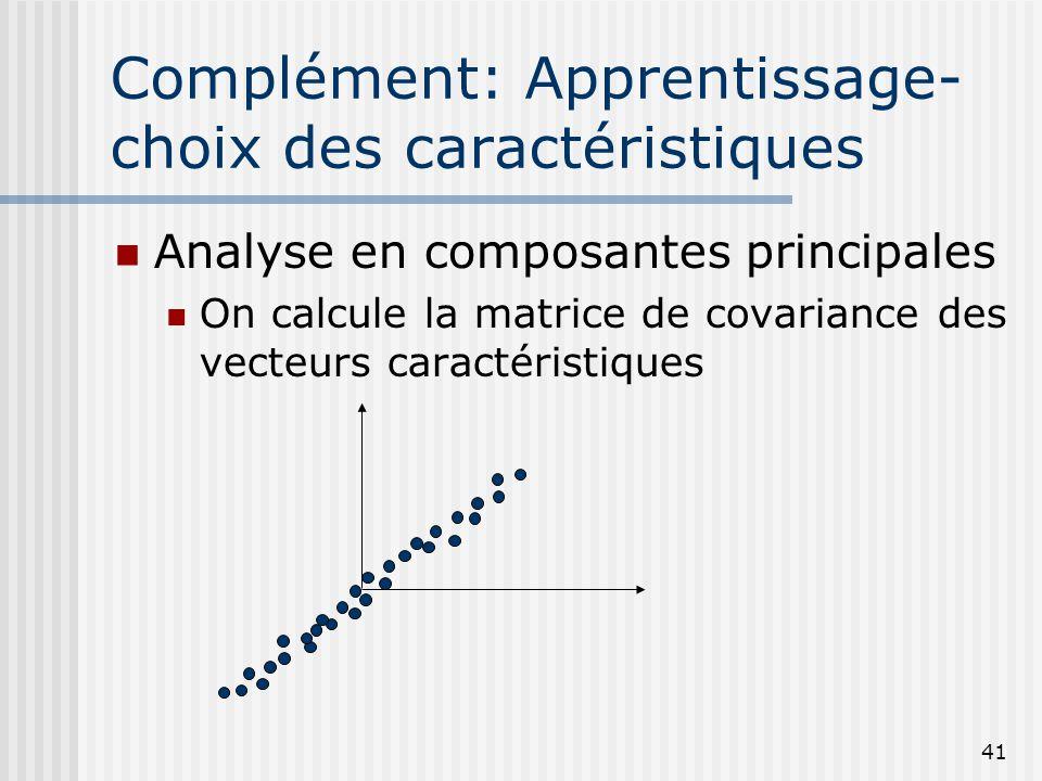 41 Complément: Apprentissage- choix des caractéristiques Analyse en composantes principales On calcule la matrice de covariance des vecteurs caractéri
