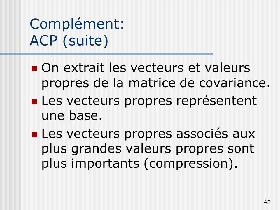 42 Complément: ACP (suite) On extrait les vecteurs et valeurs propres de la matrice de covariance. Les vecteurs propres représentent une base. Les vec