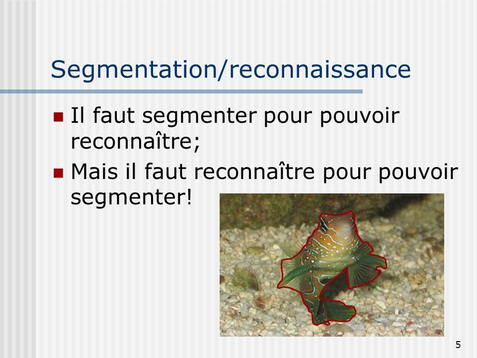 5 Segmentation/reconnaissance Il faut segmenter pour pouvoir reconnaître; Mais il faut reconnaître pour pouvoir segmenter!