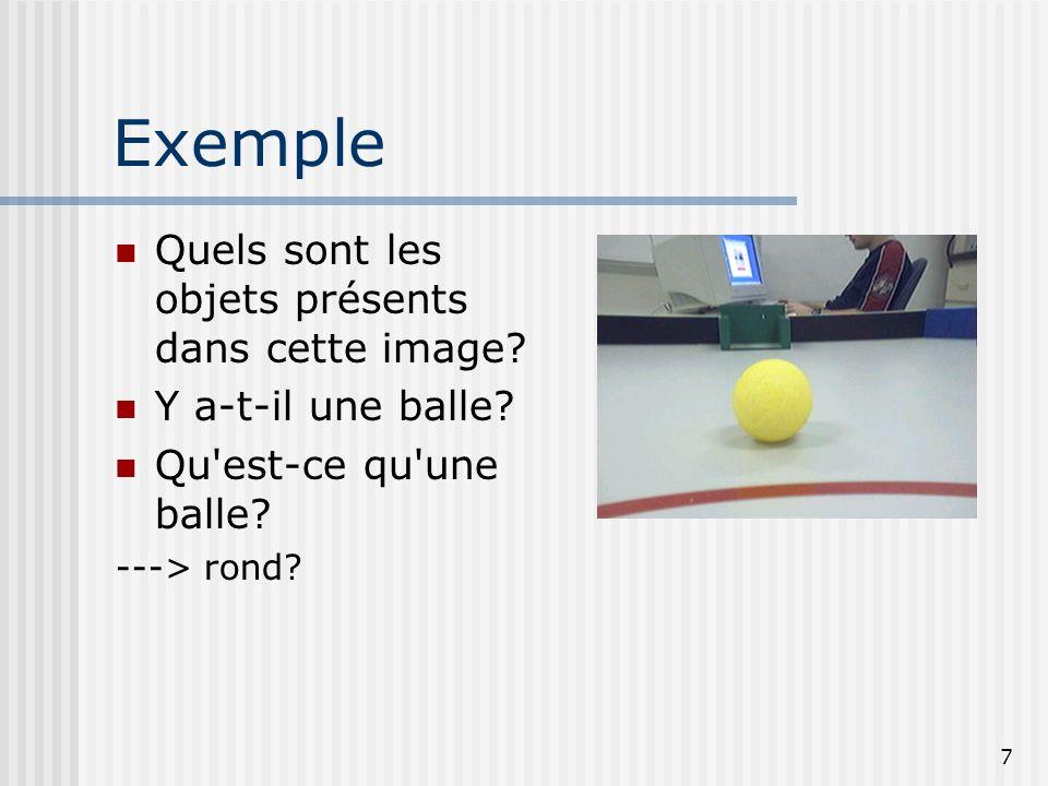 7 Exemple Quels sont les objets présents dans cette image? Y a-t-il une balle? Qu'est-ce qu'une balle? ---> rond?
