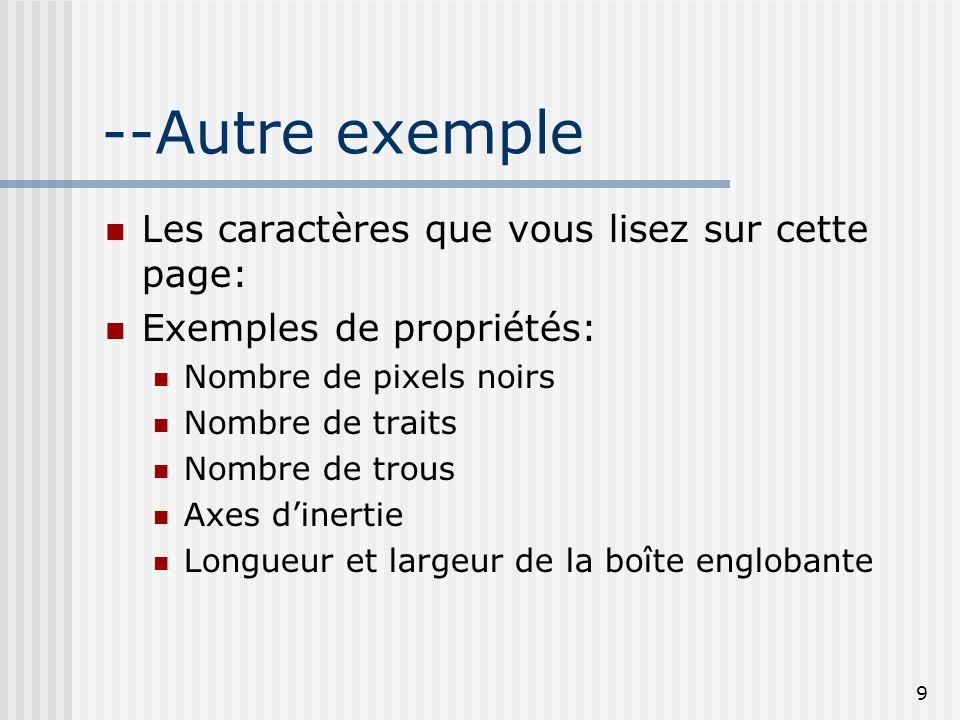 9 --Autre exemple Les caractères que vous lisez sur cette page: Exemples de propriétés: Nombre de pixels noirs Nombre de traits Nombre de trous Axes d