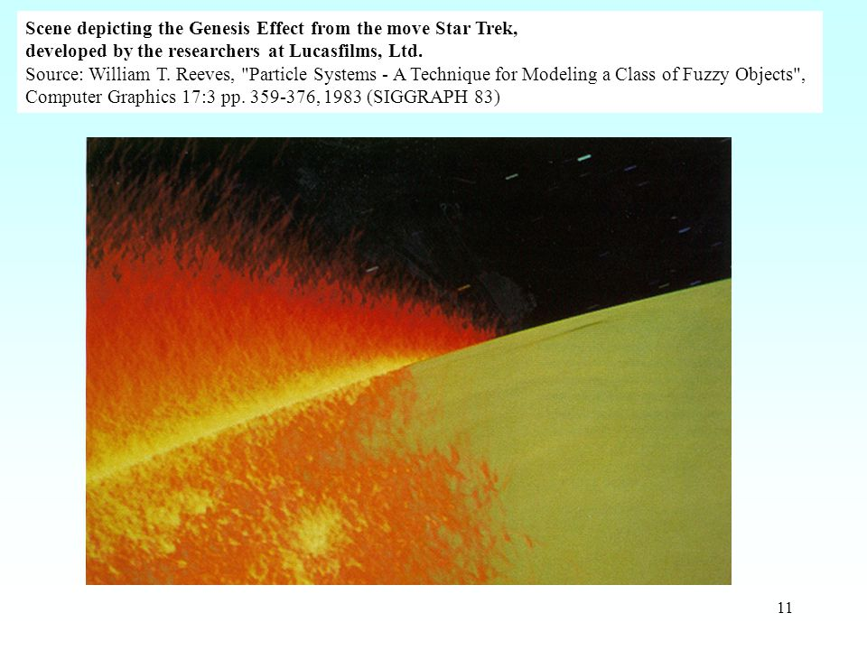11 Scene depicting the Genesis Effect from the move Star Trek, developed by the researchers at Lucasfilms, Ltd.