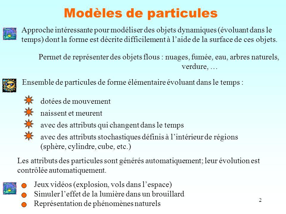 2 Modèles de particules Approche intéressante pour modéliser des objets dynamiques (évoluant dans le temps) dont la forme est décrite difficilement à l'aide de la surface de ces objets.
