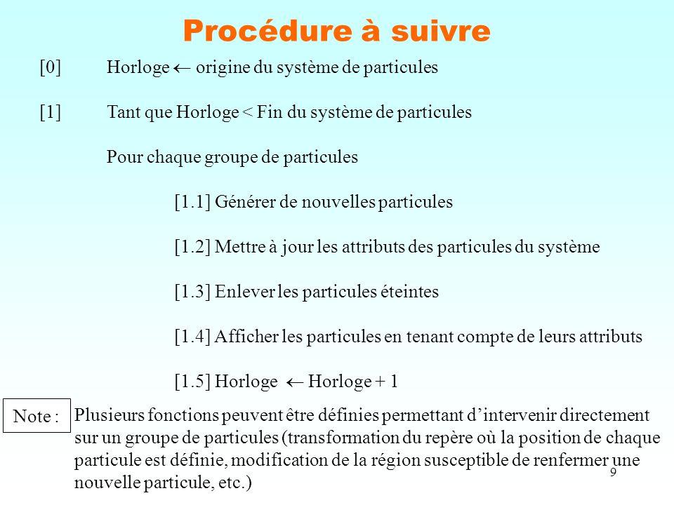 9 Procédure à suivre [0]Horloge  origine du système de particules [1]Tant que Horloge < Fin du système de particules Pour chaque groupe de particules [1.1] Générer de nouvelles particules [1.2] Mettre à jour les attributs des particules du système [1.3] Enlever les particules éteintes [1.4] Afficher les particules en tenant compte de leurs attributs [1.5] Horloge  Horloge + 1 Note : Plusieurs fonctions peuvent être définies permettant d'intervenir directement sur un groupe de particules (transformation du repère où la position de chaque particule est définie, modification de la région susceptible de renfermer une nouvelle particule, etc.)