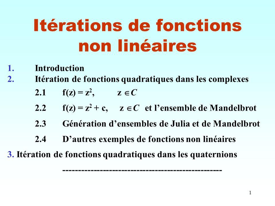 1 Itérations de fonctions non linéaires 3. Itération de fonctions quadratiques dans les quaternions --------------------------------------------------