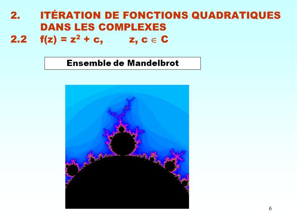 6 2.ITÉRATION DE FONCTIONS QUADRATIQUES DANS LES COMPLEXES 2.2f(z) = z 2 + c, z, c  C Ensemble de Mandelbrot