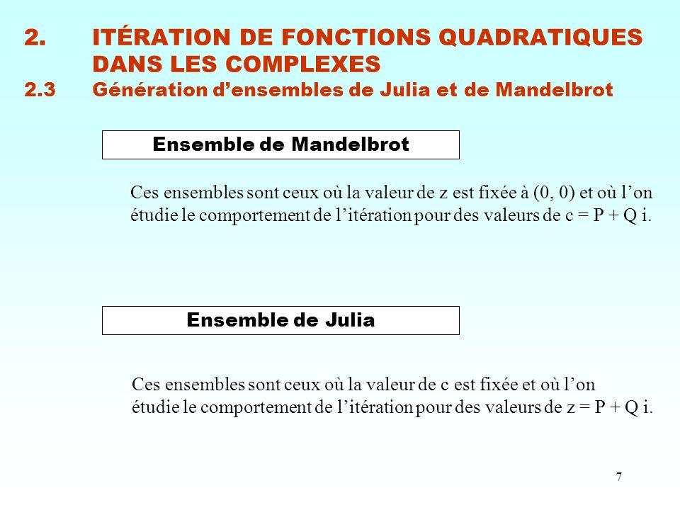 7 2.ITÉRATION DE FONCTIONS QUADRATIQUES DANS LES COMPLEXES 2.3Génération d'ensembles de Julia et de Mandelbrot Ensemble de Mandelbrot Ensemble de Juli