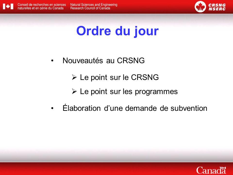 Ordre du jour Nouveautés au CRSNG  Le point sur le CRSNG  Le point sur les programmes Élaboration d'une demande de subvention