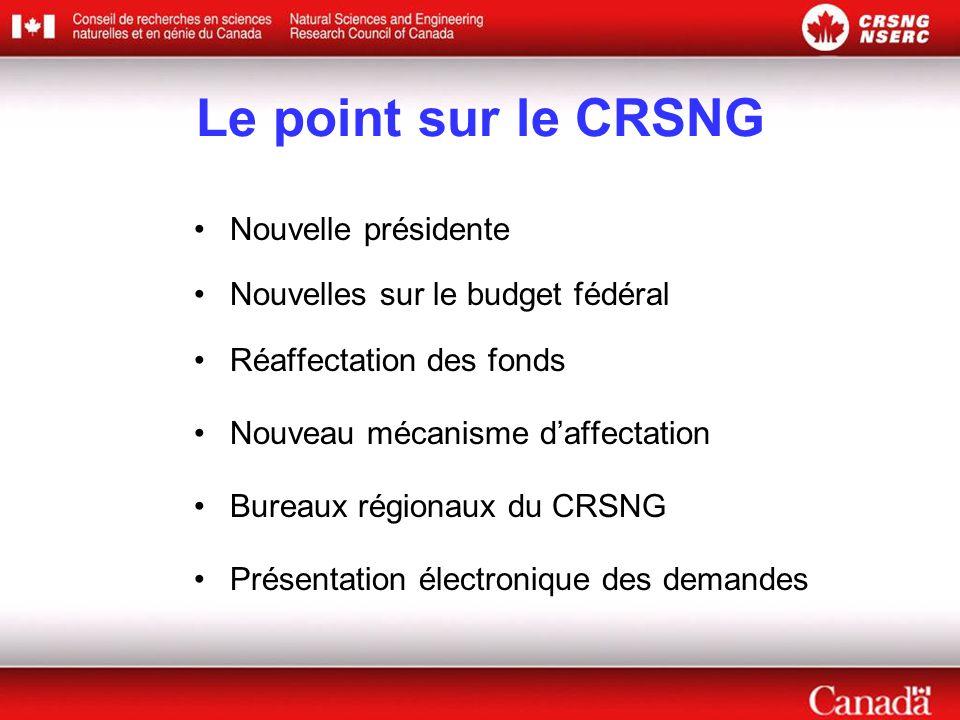 Le point sur le CRSNG Nouvelle présidente Nouvelles sur le budget fédéral Réaffectation des fonds Nouveau mécanisme d'affectation Bureaux régionaux du CRSNG Présentation électronique des demandes