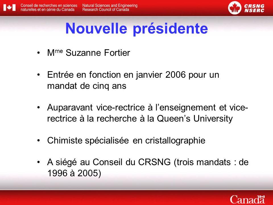 Nouvelle présidente M me Suzanne Fortier Entrée en fonction en janvier 2006 pour un mandat de cinq ans Auparavant vice-rectrice à l'enseignement et vice- rectrice à la recherche à la Queen's University Chimiste spécialisée en cristallographie A siégé au Conseil du CRSNG (trois mandats : de 1996 à 2005)