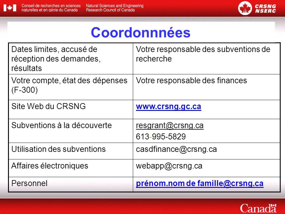 Dates limites, accusé de réception des demandes, résultats Votre responsable des subventions de recherche Votre compte, état des dépenses (F-300) Votre responsable des finances Site Web du CRSNGwww.crsng.gc.ca Subventions à la découverteresgrant@crsng.ca 613-995-5829 Utilisation des subventionscasdfinance@crsng.ca Affaires électroniqueswebapp@crsng.ca Personnelprénom.nom de famille@crsng.ca Coordonnnées