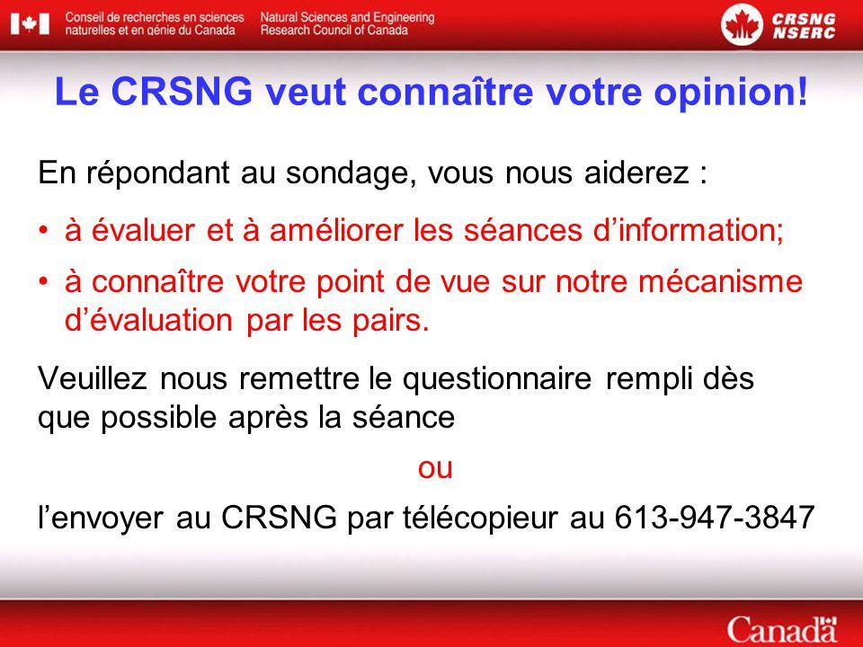 Le CRSNG veut connaître votre opinion.